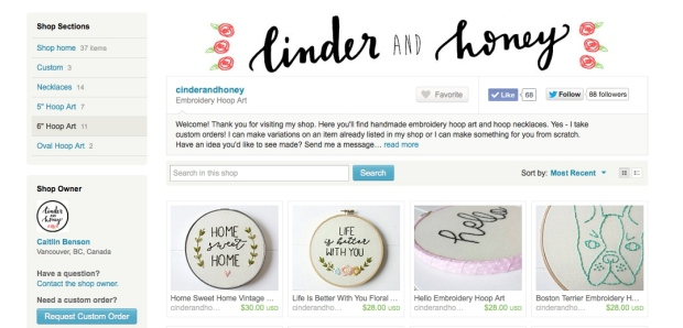 Cinder and Honey Embroidery Etsy